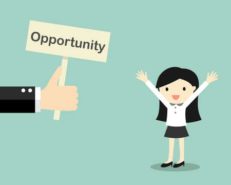 opportunity concept: Business concept, Hand offers opportunity to business woman. Vector illustration. Illustration