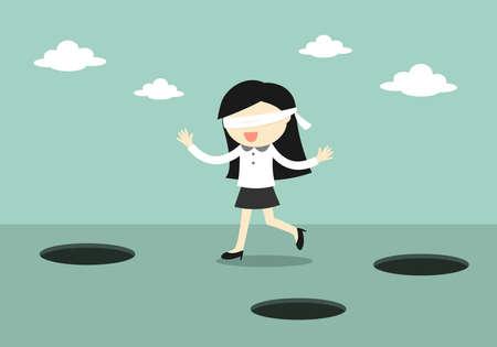 ビジネス コンセプトは、Blindfolded ビジネスの女性が歩いています。ベクトルの図。  イラスト・ベクター素材