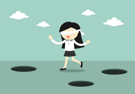 Business-Konzept, mit verbundenen Augen Business-Frau ist zu Fuß. Vektor-Illustration.