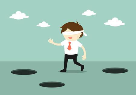 Business concept, Blindfolded businessman is walking. Illustration