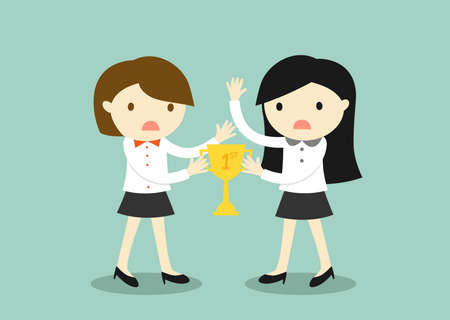 Business concept, Two business women are fight for a trophy. Illustration
