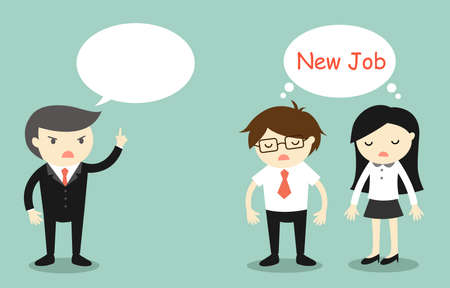 new employees: Business concept, Boss talking and employees want to find new job. Illustration