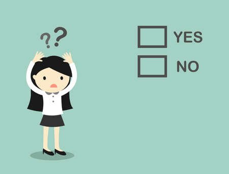 yes or no: Business concept, Business woman is confusing about yes and no.
