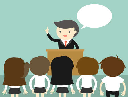 Business concept, Businessman talking on the podium. Vector illustration.