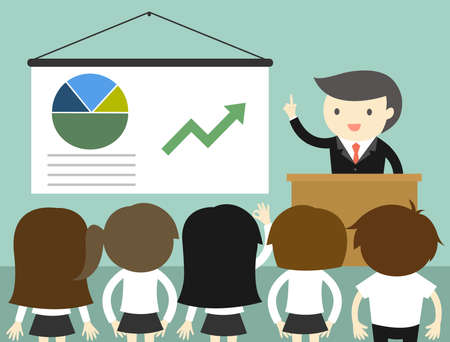 Business concept, Businessman giving presentation and explaining charts. Vector illustration.