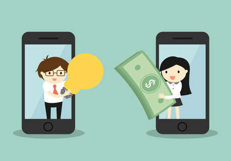 via: Business concept, businessman and business woman exchanging money for idea via smartphone. Vector illustration.