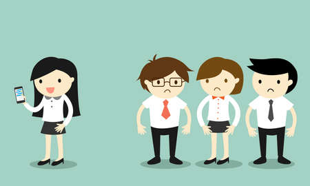 awkward: Business concept, Business woman is using smartphone but her coworkers feel awkward. Vector illustration. Illustration