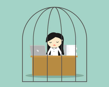 delinquent: Business concept, Business woman feeling tired and bored while working in the prison. Vector illustration.