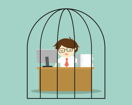 delinquent: Business concept, Businessman feeling tired and bored while working in the prison. Vector illustration.
