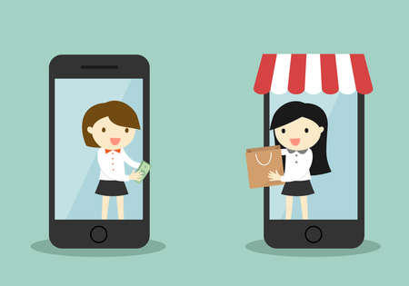 Business concept, Business woman buy something via smartphone, online shopping concept. Illustration