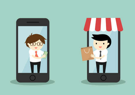 smartphone business: Business concept, Businessman buy something via smartphone, online shopping concept.
