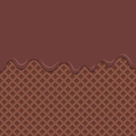 Flowing chocolate melt on chocolate wafer background. Illustration