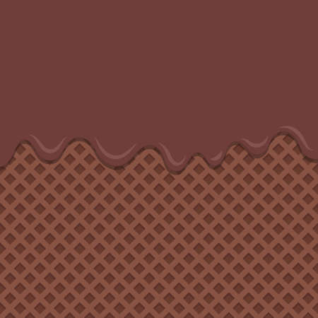 Flowing chocolate melt on chocolate wafer background. Illustration