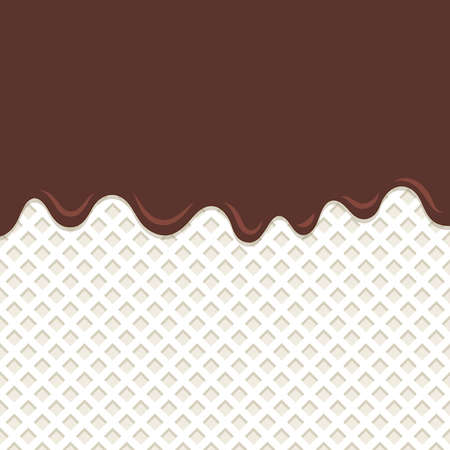 Flowing chocolate melt on milk wafer background. Illustration