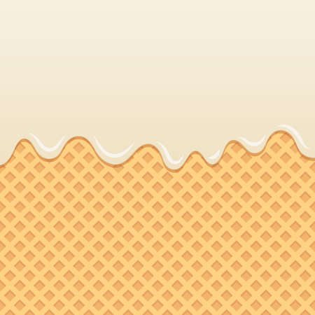 Wafer background with flowing milk cream.