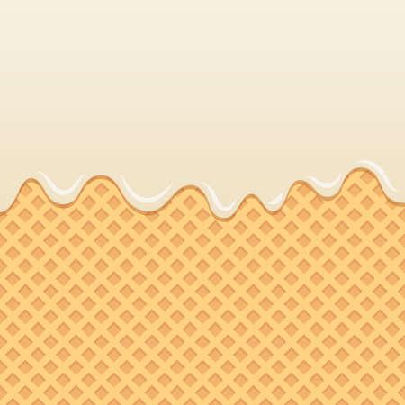 Wafer background with flowing milk cream.