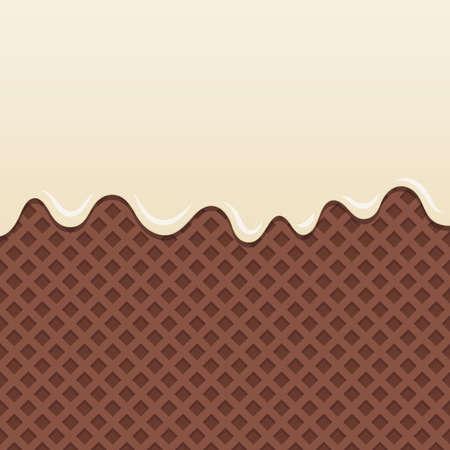 melt: Flowing milk cream melt on chocolate wafer background.