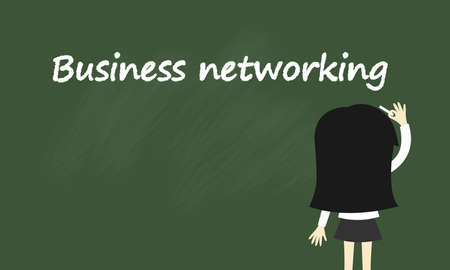 business networking: Business concept, Business woman is writing about business networking. Vector illustration.