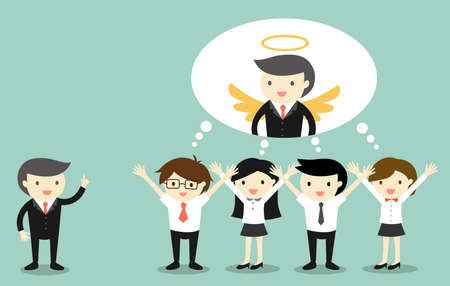 compliment: Business concept, Boss gives compliment to business people and they are thinking that boss is an angel. Illustration