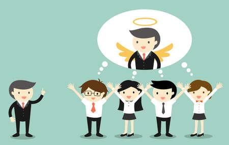 비즈니스 개념, 보스 비즈니스 사람들에게 칭찬을 제공하고 그 보스를 생각하는 천사입니다.