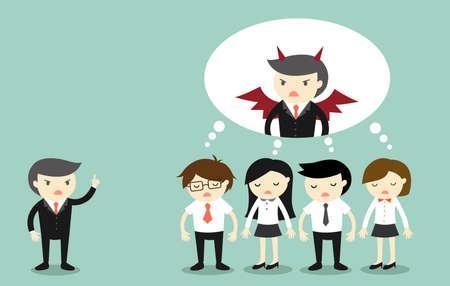 Concepto de negocio, jefe se queja la gente de negocios y que están pensando que el jefe es un diablo. ilustración vectorial Ilustración de vector
