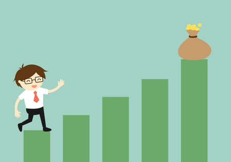 gold cup: Business concept, Businessman climbing the stairs to the gold cup. Vector illustration. Illustration