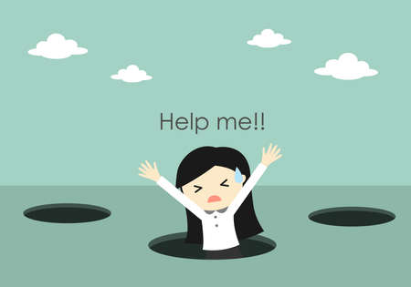 Business concept, Business woman fall into the hole and need help. Vector illustration. Illustration