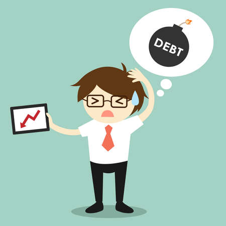Business concept, Businessman feeling stressed about debt because he lost money from investment.