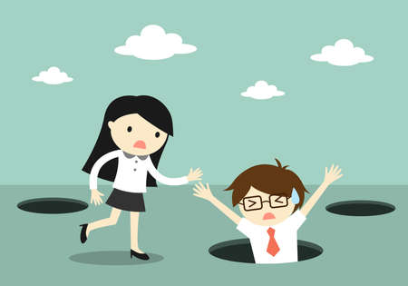 Business concept, Businessman fall into the hole but business woman trying to help him. Ilustração