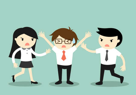 Business concept, Businessman trying to stop a fight between two coworkers. Vector illustration. Illustration