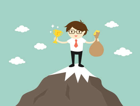 Business concept, Businessman standing on the top of the mountain, he holding trophy and a bag of money. Vector illustration.