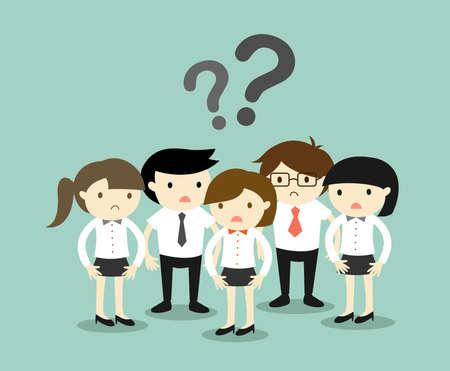 preguntando: Concepto de negocio, Grupo de gente de negocios se sienten confundidos. Ilustración del vector.