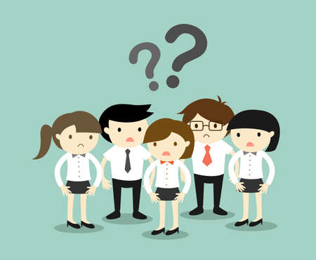 Business concept, Group of business people feeling confused. Vector illustration. Vettoriali