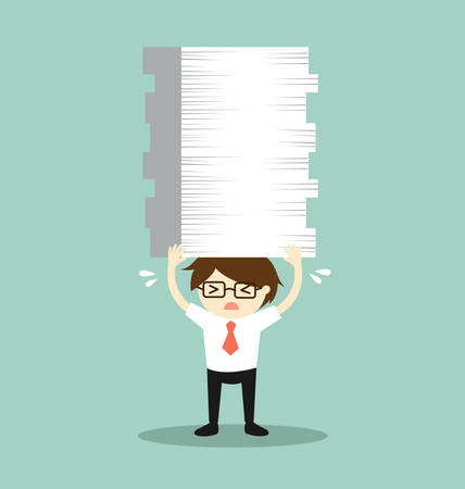 disheartened: Business concept, Businessman is holding a lot of papers. Vector illustration.