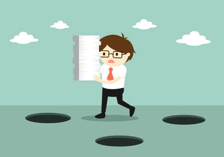 Business concept, Careless businessman is holding a lot of paper while walking. Vector illustration. Illustration