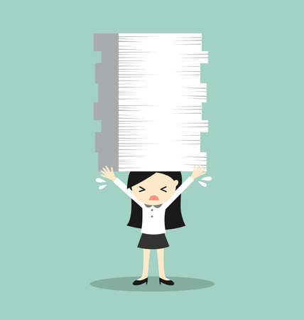 despondent: Business concept, Business woman is holding a lot of papers. Vector illustration.
