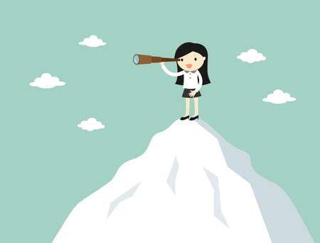Koncepcją biznesową, kobieta biznesu przy użyciu teleskopu, stojąc na szczycie góry. Ilustracji wektorowych.