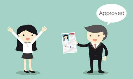 Concept d'entreprise, le CV de la femme d'affaires est approuvé. Illustration vectorielle