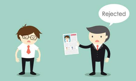 Business concept, Businessman's resume is rejected. Vector illustration.