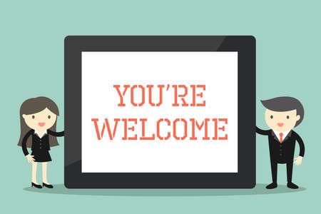 """Geschäftskonzept, Geschäftsmann und Geschäftsfrau, die Tablette mit Benennung halten """"Sie sind willkommen"""". Vektor-Illustration."""