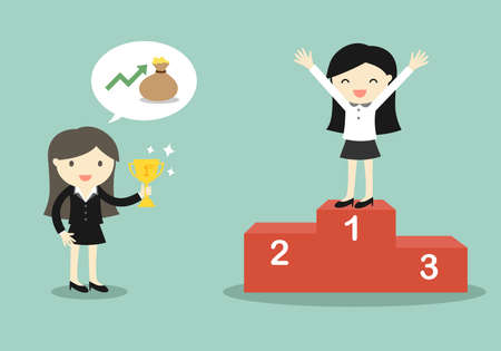 Business concept, Boss give a trophy to business woman. Vector illustration. Illustration