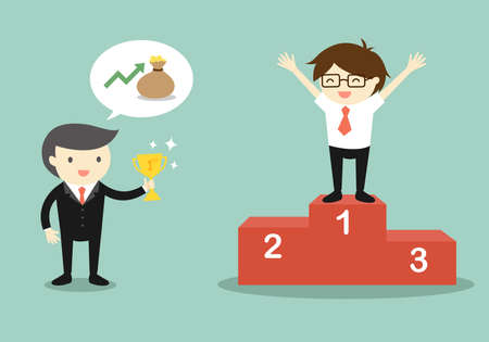 Business concept, Boss give a trophy to businessman. Vector illustration.