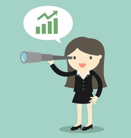 Business concept, Boss/Business woman using her telescope and see opportunity about business. Vector illustration.