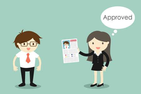 Concept d'entreprise, homme d'affaires s'attendre à un travail et le patron pense à approuver son CV. Illustration vectorielle