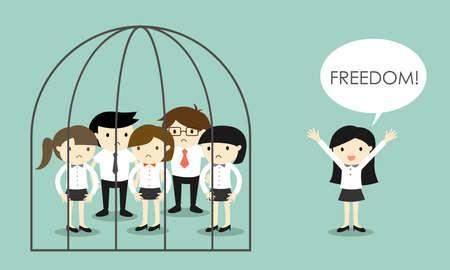 Business concept, Bedrijfsvrouw staande uit de gevangenis. Vector illustratie