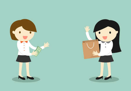 mujer en el supermercado: Business concept, Business woman buy something from another woman, shopping concept. Vector illustration.