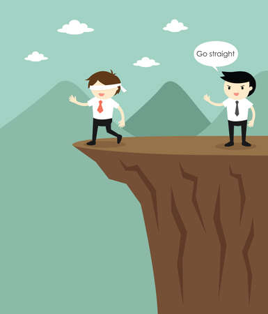 Blindfolded businessman is walking to the cliff because another businessman fooled him. Illustration