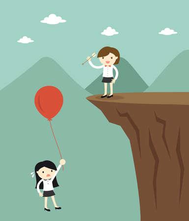 Concepto de negocio, mujer de negocios utiliza la flecha para hacer explotar el globo de otra mujer de negocios. Ilustración vectorial
