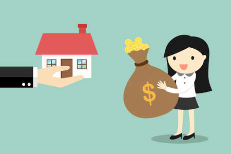 Business concept, hand offers a house to business woman. Illustration