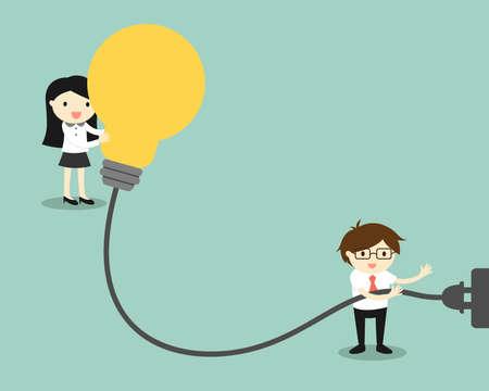 Business concept, Businessman is charging battery of big light bulb. Vector illustration. Vettoriali